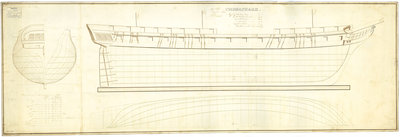 Lines drawing of 'Chesapeake' (1813) by unknown - print