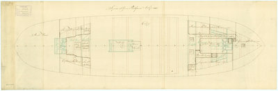 Deck, orlop plan for 'Sirius' (1797) by unknown - print
