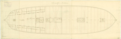 Lower deck plan for 'Sirius' (1797) by unknown - print