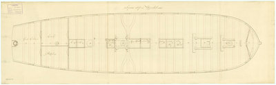Upper deck plan for 'Sirius' (1797) by unknown - print