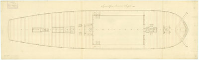 Deck, quarter & forecastle plan for 'Sirius' (1797) by unknown - print