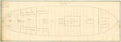Lower deck plan of 'Lutine' (fl, 1793) by Anonymous - print