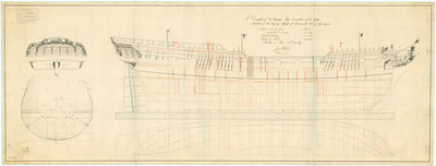 Lines and profile plan of 'Crocodile', 1781 by unknown - print
