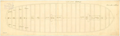 Plan of the gun deck of HMS 'Queenborough' (1747) by unknown - print