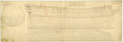 Lines and profile plan of HMS 'Queenborough' (1747) by unknown - print