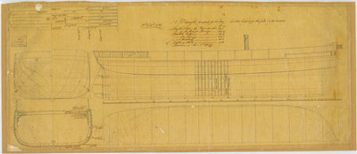 Lines plan for 'Redbreast' (1855), 'Raven' (1855) and 'Rocket' (1855) by unknown - print