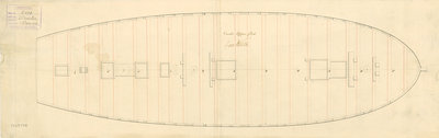 Upper deck plan for 'Orestes' (1781) by unknown - print
