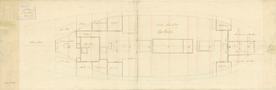 Lower deck plan for 'Orestes' (1781) by unknown - print
