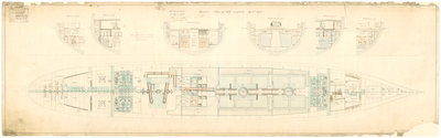 Admiralty plan showing the hold of the broadside ironclad 'Warrior' (1860) by unknown - print