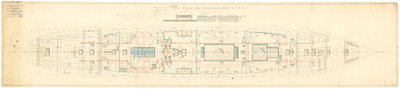 Admiralty plan showing the lower deck of the broadside ironclad 'Warrior' (1860) by unknown - print
