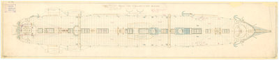 Admiralty plan showing the upper deck of the broadside ironclad 'Warrior' (1860) by unknown - print