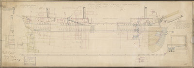 Profile plan of 'Terror' (1813) by unknown - print