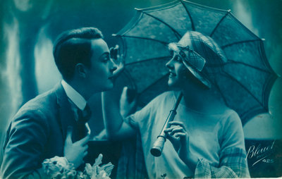 Postcard of romantic vintage couple, in blue Fine Art Print by Anonymous