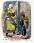 French Woman and Child Selling Fruit Fine Art Print by Sir John Everett Millais