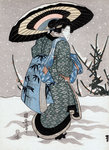 Girl in Snow Storm Fine Art Print by Sir Alfred East