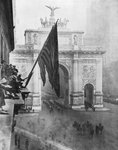 US 1st Army passing through the Victory Arch, Madison Square, New York, USA Fine Art Print by French School