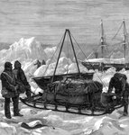 Preparing to start on a sledge trip in the Arctic Fine Art Print by Clive Uptton