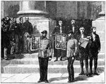 Heralds at the Mansion House proclaiming the queen as Empress of India, London, May 1876 Fine Art Print by Carl Haag