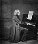 Franz Liszt, (1811-1886), Hungarian virtuoso pianist and composer Fine Art Print by Johann Zitterer