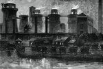 The blast furnaces at Summerlea by night Fine Art Print by American School