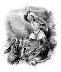 Crusader in battle Fine Art Print by English School