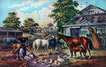 American Farm Yard in the Morning Postcards, Greetings Cards, Art Prints, Canvas, Framed Pictures & Wall Art by John Frederick Herring Snr