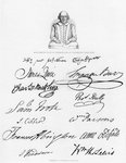 Bust of Shakespeare and signatures of celebrated actors Fine Art Print by R. S. DeLamater