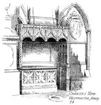 Chaucer's tomb, Westminster Abbey, London Fine Art Print by Augustus Charles Pugin