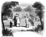 Ladies walking, garden scene of one of the wealthier classes Fine Art Print by Chinese School