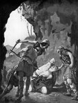 King Constantine I of Scotland being slain by the Danes in 877 Fine Art Print by Peter Jackson