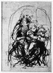 Studies for a 'Madonna Del Gatto' Fine Art Print by English School