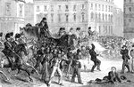 Scene at a Belfast riot Fine Art Print by English School