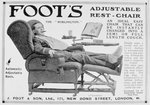 Advert for Foot's 'Burlington' adjustable rest-chair Postcards, Greetings Cards, Art Prints, Canvas, Framed Pictures & Wall Art by Clive Uptton
