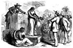 Public slave auction Fine Art Print by French School