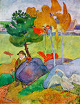 Little Breton Boy with a Goose Fine Art Print by Paul Gauguin