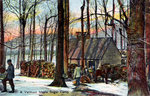 A Vermont maple sugar camp, USA Fine Art Print by English School