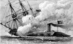 The Confederate ironclad 'Merrimac' sinking the USS 'Cumberland' Fine Art Print by American School