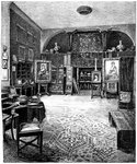 The studio of Sir Frederic Leighton Fine Art Print by Rolinda Sharples