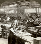 Sheet metal workers at a aeroplane factory, World War I Fine Art Print by French School