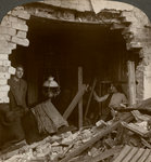 The damage done by a German Zeppelin bomb, World War I Wall Art & Canvas Prints by English Photographer