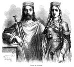 King Clovis I and Queen Clotilde of the Franks Wall Art & Canvas Prints by Pahari School