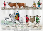 Ploughing, a lord hunting with a bird, a slave, and two servants Fine Art Print by Peter Jackson
