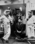 Three petty officers on board the cruiser HMS Theseus Wall Art & Canvas Prints by W. Lloyd
