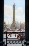 Nelson's Column and Trafalgar Square from the terrace of the National Gallery, London Wall Art & Canvas Prints by Thomas Uwins
