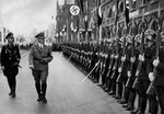Adolf Hitler reviewing Leibstandarte troops at the Nuremberg Rally, Germany Fine Art Print by German Photographer