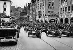 Adolf Hitler reviewing motorcycle troops at the Nuremberg Rally, Germany Wall Art & Canvas Prints by German Photographer