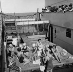 Passengers sunbathing on a Cunard Line cruise to the West Indies, January-March 1931 Fine Art Print by English School