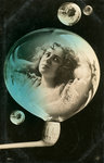 Woman reflected in a bubble, postcard Fine Art Print by Firyal Al-Adhamy