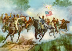 Rough Riders stampeding a Spanish outpost, Cuba, Spanish-American War Fine Art Print by Emanuel Gottlieb Leutze