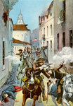 Street fight in Santiago, Cuba, Spanish-American War Fine Art Print by Emanuel Gottlieb Leutze